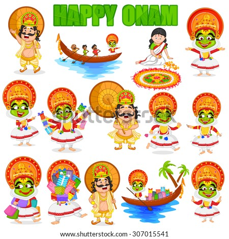 King Mahabali for Onam festival, India in vector - stock vector