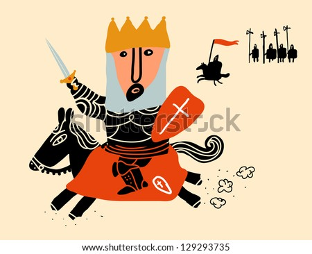 king mount in black horse charging - stock vector