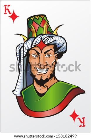 King of diamond. Deck romantic graphics cards - stock vector