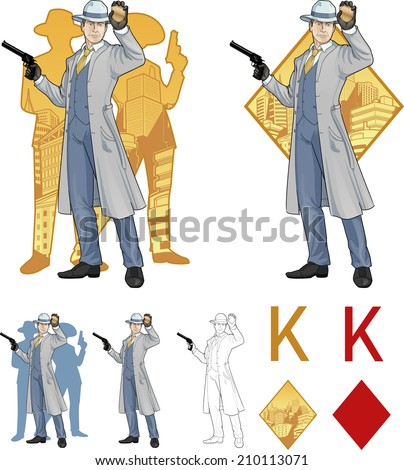 King of diamonds caucasian police chief shows his badge with a gun and people silhouettes retro styled comics card character set of illustrations with black lineart - stock vector