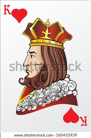 King of heart. Deck romantic graphics cards - stock vector