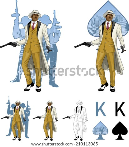 King of spades African American mafioso godfather with a gun and armed crew silhouettes retro styled comics card character set of illustrations with black lineart - stock vector