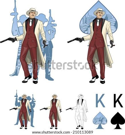 King of spades asian mafioso godfather with a gun and armed crew silhouettes retro styled comics card character set of illustrations with black lineart - stock vector