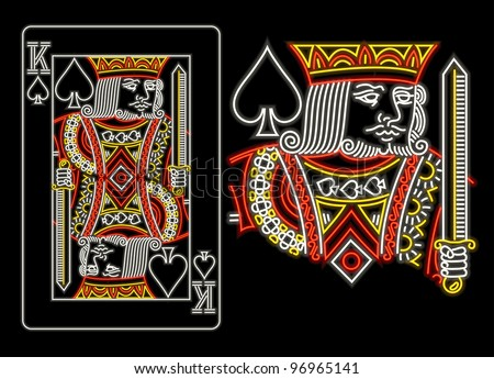 King of Spades in neon - stock vector