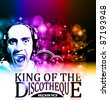 King of the discotheque flyer tor alternative music event postet. basckground is full of glitter and flow of lights with rainbow tone - stock vector