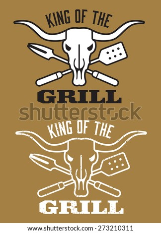 King of the Grill barbecue vector image with cow skull and crossed utensils. Includes clean and grunge versions. - stock vector