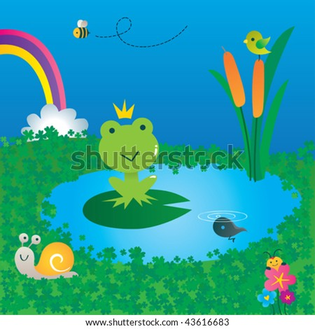 King of the pond. Vector illustration of a cute frog sitting in his pond. - stock vector