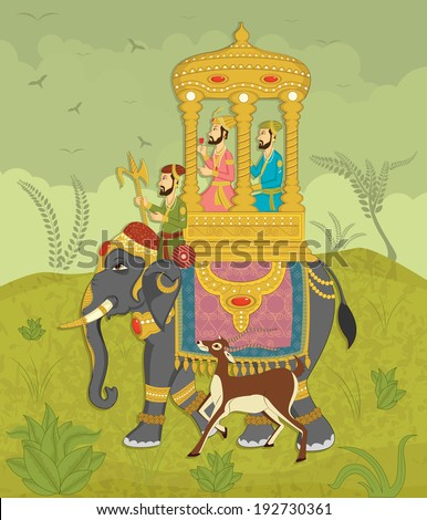 King on elephant ride in Indian art style - stock vector