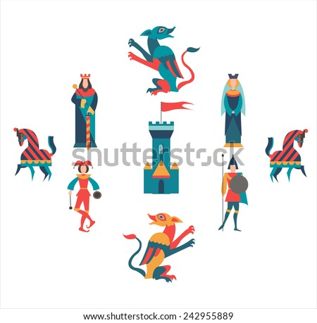 King, Queen, soldiers, jester, horses, castel and dragons - stock vector