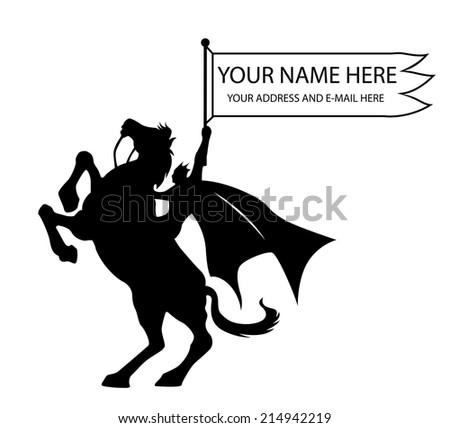 king riding a horse pose and his hand holding a flag which you can type your business name on it - stock vector