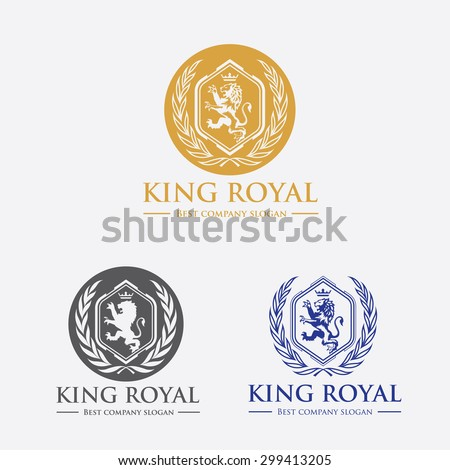 King royal, crest logo,crests,crown,royal, fashion,hotel logo,boutique brand,lion logo,vector logo template - stock vector