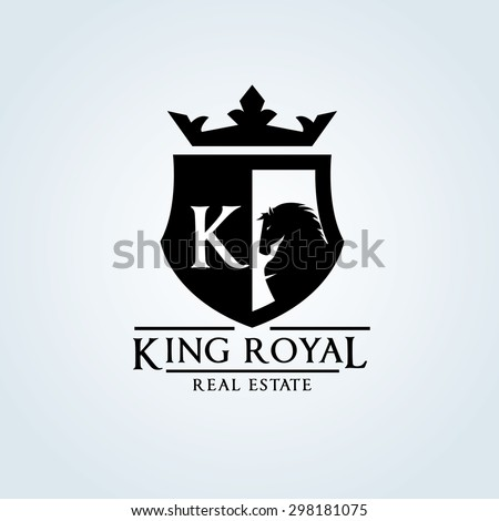 king royal,crown,horse logo,k letter logo,luxury brand,hotel,fashion,design vector logo template  - stock vector