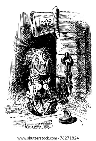 King's Messenger in Prison - Through the Looking Glass and what Alice Found There original book engraving - stock vector