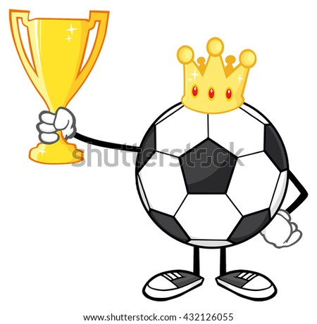 King Soccer Ball Faceless Cartoon Character With Crown Holding A Golden Trophy Cup. Vector Illustration Isolated On White Background - stock vector