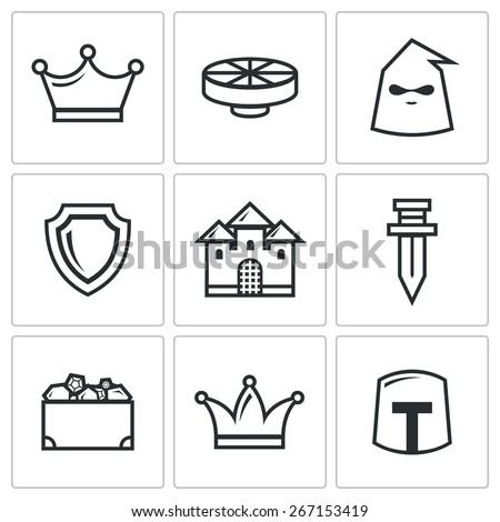 Kingdom icons: King round table executioner sword shield lock treasures Queen Knight.  Vector Illustration - stock vector