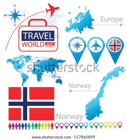 Kingdom of Norway. flag. World Map. Travel vector Illustration. - stock vector