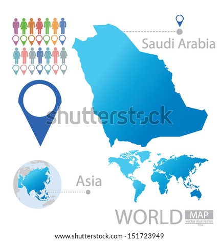 Kingdom of Saudi Arabia. Asia. World Map. vector Illustration. - stock vector