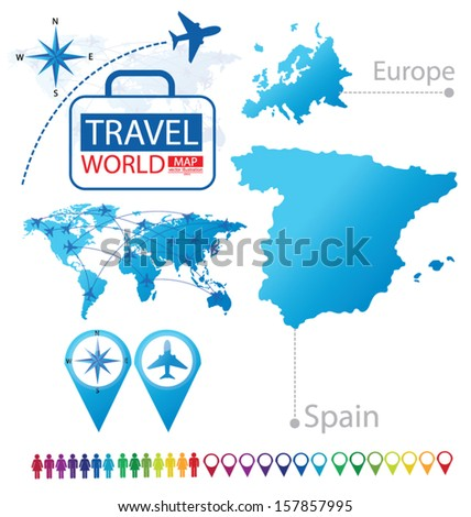 Kingdom of Spain. Map. Europe. Modern globe. Travel vector Illustration. - stock vector