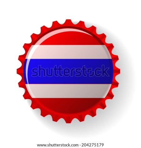 Kingdom of Thailand  on bottle caps - stock vector