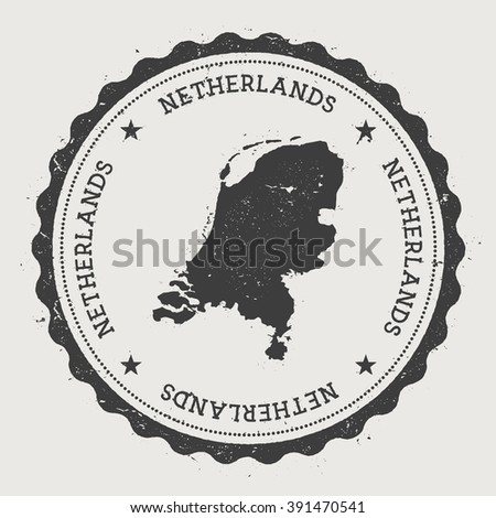 Kingdom of the Netherlands. Hipster round rubber stamp with Netherlands map. Vintage passport stamp with circular text and stars, vector illustration. - stock vector