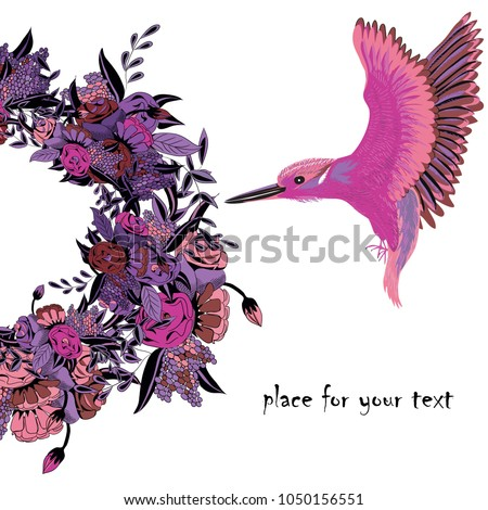 Kingfisher flying to floral wreath. Vector illustration of violet bird with pink wings  and wreath  with pink and purple flowers on white background. Place for your text.