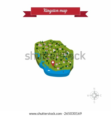 Kingston, Jamaica map. Flat style design - vector - stock vector