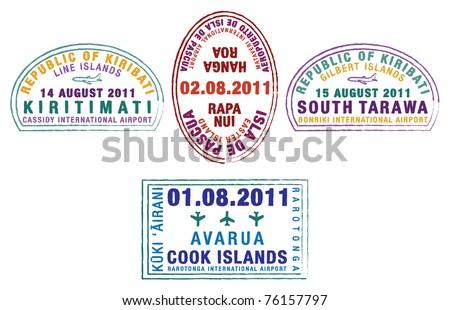 Kiribati, Easter Island and the Cook Islands passport stamps in vector format. - stock vector