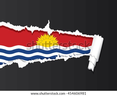 Kiribati flag under ripped paper vector illustration. - stock vector