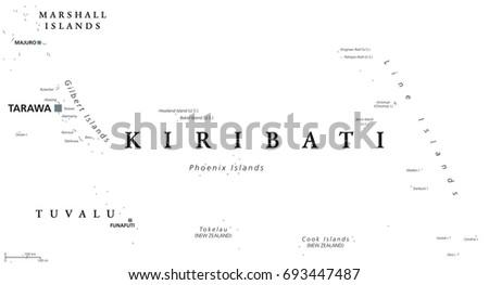 Kiribati Political Map Capital Tarawa English Stock Vector HD