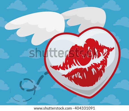 Kiss in a heart shape with wings flying around in a cloudy background. - stock vector