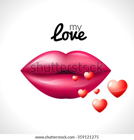 Kiss lips Valentine background with hearts love  - stock vector