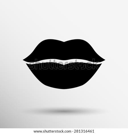 Lips Vector Black Kiss Lips Cartoon Stoc...