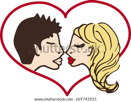 kiss man and woman with red heart. vector illustration. - stock vector