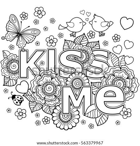 Kiss Me Vector Abstract Coloring Book Stock Vector 563379967 ...