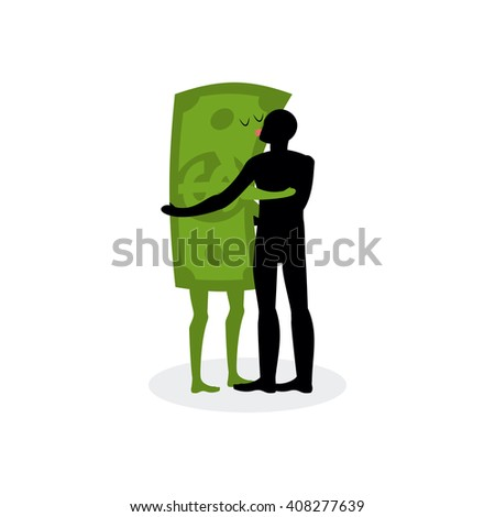 Kiss money. Man embraces dollar. Hot kiss on date with paper bills. Love in cash. Romantic financial currency illustration - stock vector