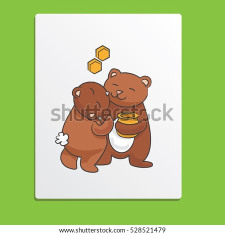 Kisses couple illustration of bears. Vector card for Valentine holiday or other love celebrations
