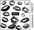 kisses -lips print - VECTOR - stock vector