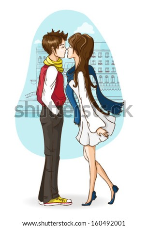 Kissing couple - stock vector