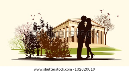 kissing couple in historical square - stock vector