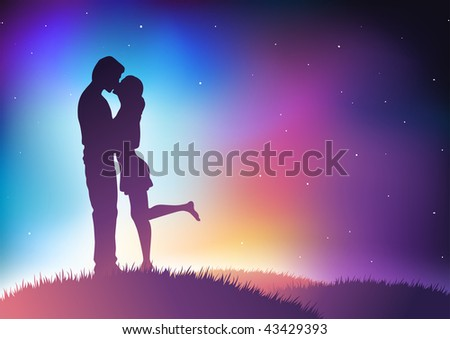 Kissing couple vector illustration. Elements are layered separately in vector file.