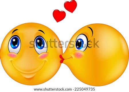 Kissing emoticon - stock vector