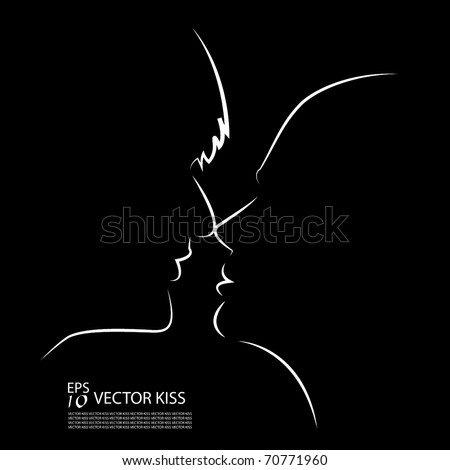Kissing faces - silhouette - stock vector