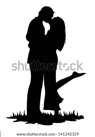Kissing lovers - stock vector
