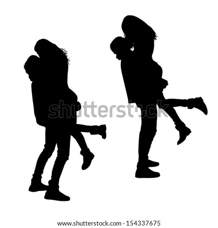 Kissing Silhouettes - stock vector