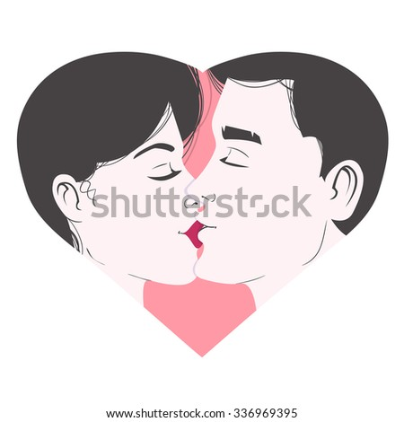 Kissing young couple inside heart, symbol of love, vector image, eps10 - stock vector