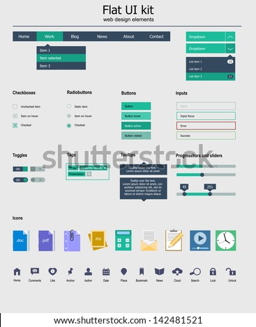 Kit is a of beautiful components featuring the flat design, with icon set - stock vector