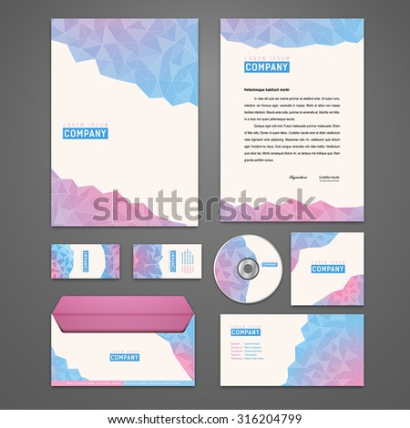 Kit of polygonal identity solutions for corporate or business which includes CD cover, business card, letter head designs. All in EPS10 - stock vector