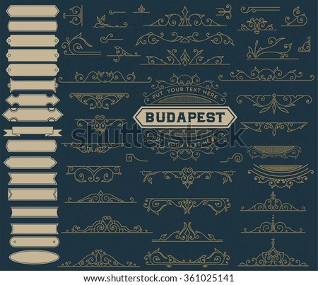 Kit of Vintage Elements for Invitations, Banners, Posters, Placards, Badges or Logotypes - stock vector