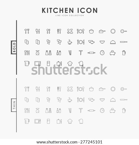 kitchen accessories bold and thin line icons - stock vector