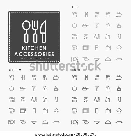 kitchen accessories thin, medium and bold line icons - stock vector